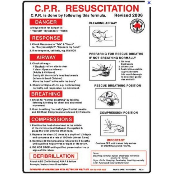 EMERGENCY TREATMENT CHART / CPR CHART