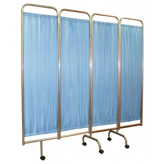 PRIVACY SCREEN - FOUR FOLD WITH WHEELS AND STAINLESS STEEL FRAME