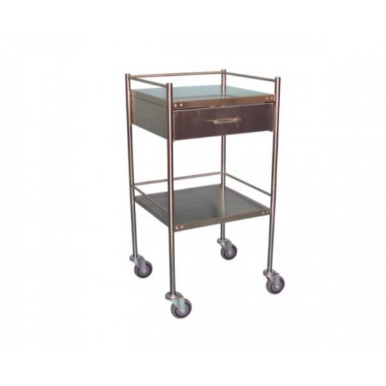 TROLLEY, STAINLESS STEEL CONSTRUCTION, 2 SHELVES WITH WHEELS AND PULL OUT DRAWER