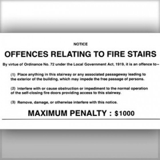 OFFENCE RELATING TO FIRE STAIRS SIGN