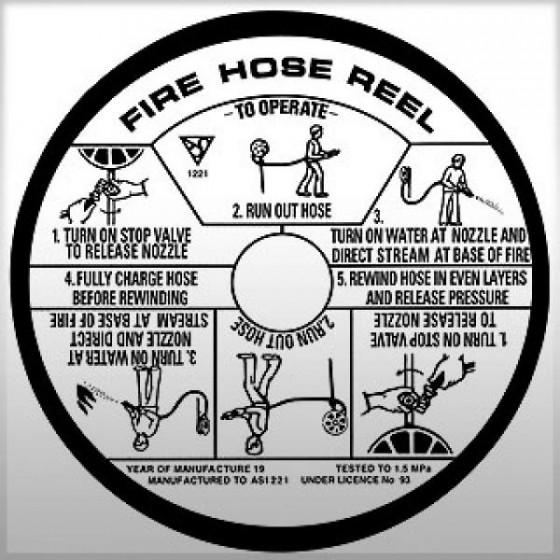 FIRE HOSE INSTRUCTION LABEL STICKER - 180mm DIAMETER