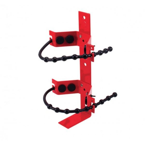 RED POWDER COATED ADJ RUBBER STRAP BRACKET - FITS UP TO 2.5KG