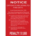 OFFENCE RELATING TO FIRE EXITS SIGN - 220MM X 150MM POLY